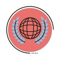 mundo planeta tierra con corona corona línea e icono de estilo de relleno vector