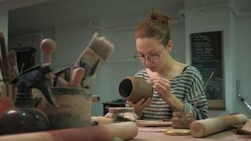 Ceramist Working in The Shop video