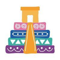 icono de estilo plano de la cultura piramidal mexicana vector