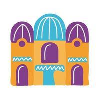 icono de estilo plano de fachada de casa mexicana vector