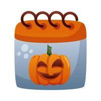 calendario de halloween con cara de calabaza estilo degradante vector