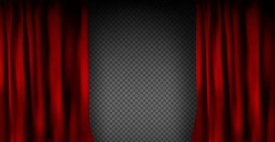 Realistic colorful red velvet curtain folded vector