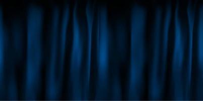 Realistic colorful blue velvet curtain folded vector
