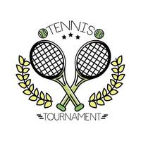 tennis balls and lettering with rackets line and fill style vector