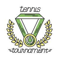 deporte de tenis de pelota en medalla con línea de corona de corona e icono de estilo de relleno vector