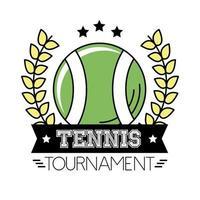 deporte de tenis de pelota con corona de corona y línea de letras y estilo de relleno vector
