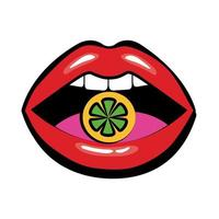 Pop art mouth eating sweet candy fill style icon vector