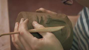 Close up of a Pottery Clay Face video
