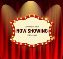 Realistic retro cinema Now Showing announcement board with bulb frame on curtains background vector