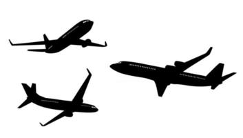 Flat airplane silhouette collection set isolated on white background vector
