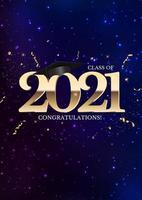 clase de graduación de 2021 con gorro de graduación, sombrero y confeti vector