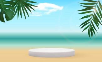 Realistic 3d pedestal over sunny background with palm leaves. vector