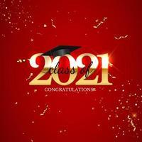 clase de graduación de 2021 con gorro de graduación y confeti vector