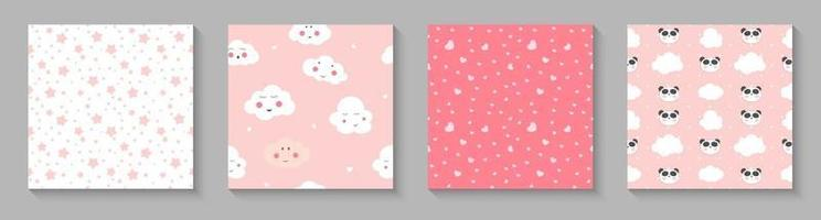 Cute child seamless pattern with panda hearts and clouds for card and shirt design vector