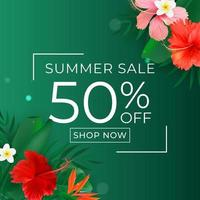 Summer sale poster Natural Background with Tropical Palm Leaves and exotic flower vector