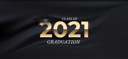 clase de graduación de 2021 con sombrero de graduación vector