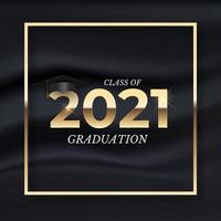 Graduation class of 2021 with graduation hat and golden ribbon vector