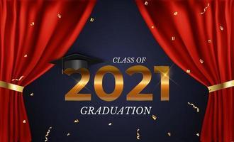 clase de graduación de 2021 con gorro de graduación, confeti y cinta dorada vector