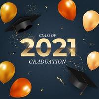 Graduation class of 2021 with graduation hat, confetti and golden ribbon vector