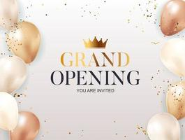 Grand Opening congratulation background card with confettis vector
