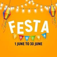 Fondo de fiesta junina con banderas de fiesta y linternas. Fondo del festival de junio de brasil para tarjeta de felicitación vector