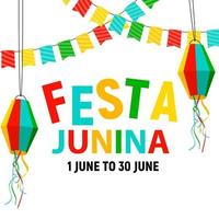 Festa Junina Background with Party Flags and Lanterns. Brazil June Festival Background for Greeting Card vector
