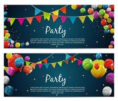 Party Birthday Background. Banner with Flags and Balloons Vector Illustration