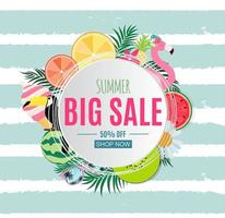 Abstract Summer Sale Background with Palm Leaves, Watermelon, Ice Cream and Flamingo vector