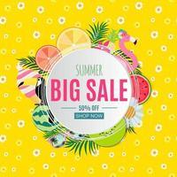 Fondo abstracto de venta de verano con hojas de palmera, sandía, helado y flamenco. vector