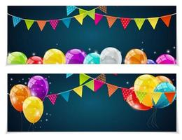 Party Birthday Background Banner with Flags and Balloons Vector Illustration