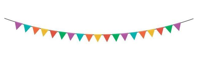 Triangle party flag garland isolated on white background vector