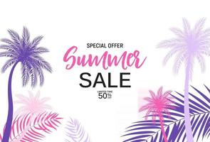 Abstract Summer Sale Background with palm leaves vector