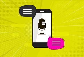 concepto de traducción de idiomas en línea con teléfono móvil y bocadillos vector
