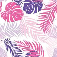 Beautiful Palm Tree Leaves Silhouette Seamless Pattern Background Vector Illustration