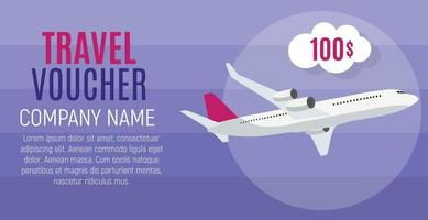 Travel Voucher, 100 Dollar Template Background with Airplane vector