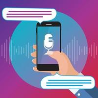 Hand with mobile phone with microphone button and intelligent technologies in flat style. Personal assistant and voice recognition concept vector