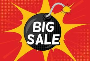 Sale Background with Bomb in Pop Art Style vector