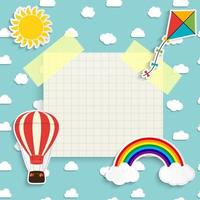 Child background with rainbow, sun, cloud, kite and balloon vector