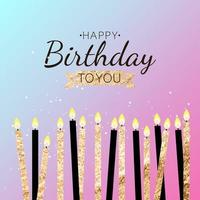 Color Glossy Happy Birthday Banner Background with Candles Vector Illustration