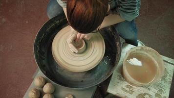 Top View of a Clay Bowl Being Crafted video