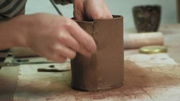 Ceramist Working on A Clay Cup video