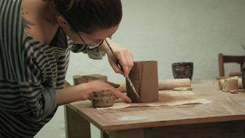 Ceramist Working on Pottery video