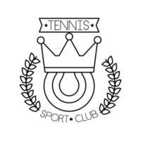 deporte de tenis de pelota con corona y corona icono de estilo de línea vector
