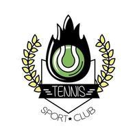 deporte de tenis de pelota en llamas con línea de corona de corona e ícono de estilo de relleno vector