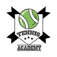 ball tennis sport with ribbons in shield line and fill style icon vector