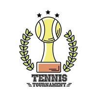 trofeo, pelota, tenis, deporte, con, corona, corona, línea, y, relleno, estilo, icono vector