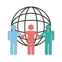 group of silhouettes people and sphere browser line and fill style vector