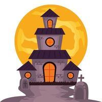 halloween haunted castle building with full moon scene vector