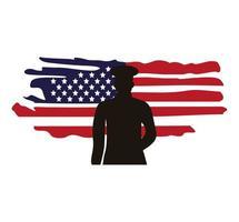 oficial militar, en, estados unidos, bandera, pintado, silueta vector