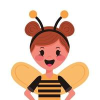 little girl with bee disguise character vector